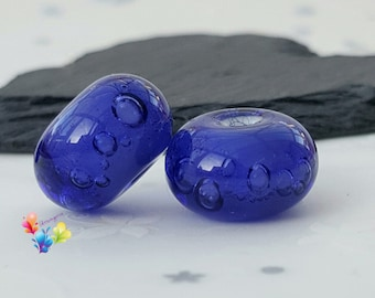 Lampwork Beads Violet Ink Bubbles Pair, Glass Beads, Purple Beads, Flameworked, Handmade,