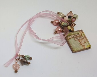 Fairytale Word Pendant Rose Pink Beaded Bookmark Book Thong