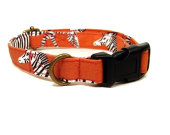 Zebra Crossing - Salmon Pink African Zebras Organic Cotton CAT Collar Breakaway Safety - All Antique Brass Hardware