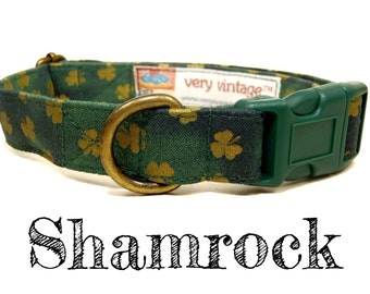 "Green Irish Gold Shamrock Four Leaf Clover Preppy St. Patricks Day Dog Collar - Organic Cotton - Antique Brass Hardware - ""Shamrock"""