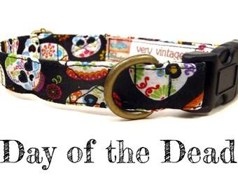 "Black Dog Collar - Sugar Skull Dog Collar - Dia De Los Muertos Dog Collar - Skull Dog Collar - Antique Brass Hardware - ""Day of the Dead"""