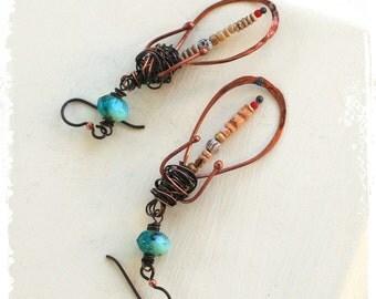 Rustic wire earrings, Artisan Hoop earrings, Gypsy earrings, Urban primitive jewelry, Bohemian earrings for women,