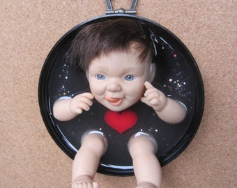 BIG HEART -  upcycled Doll Wall Plaque