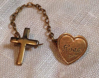 Rose's Cross and Heart Shaped Pin