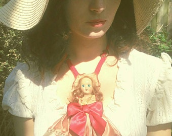 Antique,Doll, Necklace, accessory, Dame Darcy, Gothic, Victorian, avantgarde,folk, coutre, hand crafted, ArtDoll