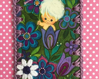Vintage Playing Card Book Mark / Ornament / Tag -  Crochet Mod Flower Pixie Purple