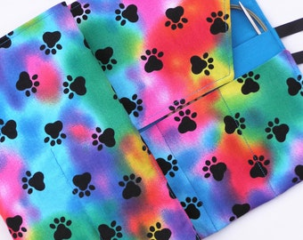 circular knitting needle case - double pointed knitting needle case -organizer -colorful paw print