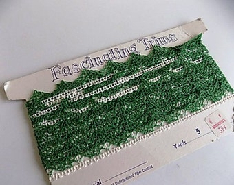 Vintage Green and White Delicate Lace Trim 5 Yards Never Used with Original Packaging