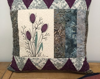 """Botanical Quilted Pillow cover art 18"""" patchwork"""