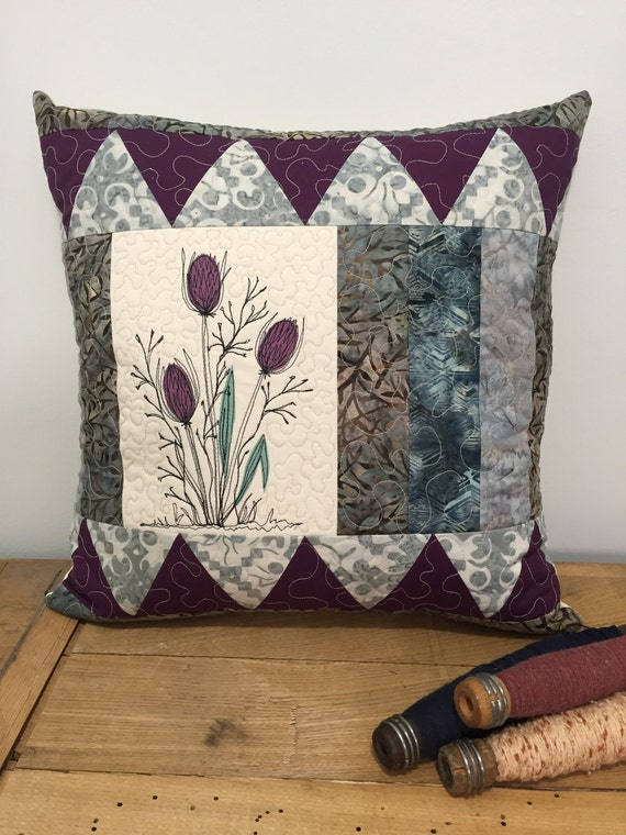 "Botanical Quilted Pillow cover art 18"" patchwork"