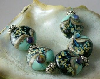 SRA Lampwork Glass Beads Handmade by Catalinaglass  Copper Green  and Raku
