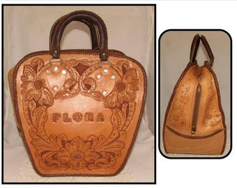 Vintage Tooled Leather Bowling Ball Bag, Flora Nerup
