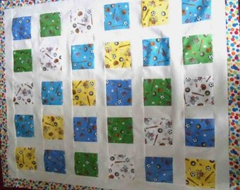 quilt top, sports, handmade, Moda fabric, piecework, toddler or child size, 39 by 46, primary colors,
