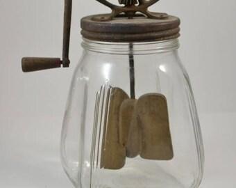 Vintage Butter Churn Glass 1920 Dazy Midcentry Farm House decor Sabby Chic
