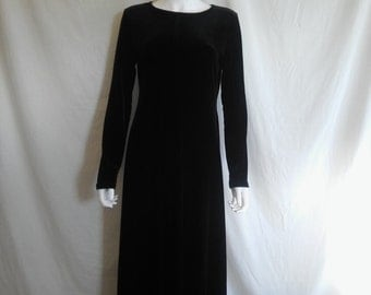 90's velvet dress long sleeve  black stretch