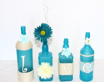Blue Sea Glass Decorated Wine Bottles Teal Love Design Floral Painted Handmade