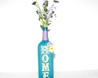 Aqua Lavender Decorative Wine Bottle Gift Handmade Home Decor Floral Gift House Warming Wedding