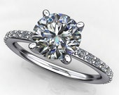 Private Listing for Colm - eliza ring - amora gem engagement ring, pave diamond shank
