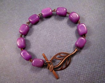 Gemstone Bracelet, Violet Agate and Leaf Toggle, Copper Beaded Bracelet, FREE Shipping U.S.