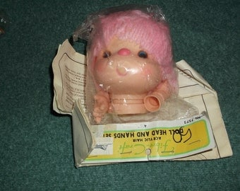Pink Hair Doll head and hands set