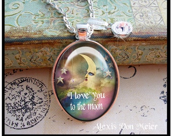Love you to the moon, original art pendants, gift boxed, READY to SHIP, Valentine's Day gifts, Valentine's Day jewelry, love, romance