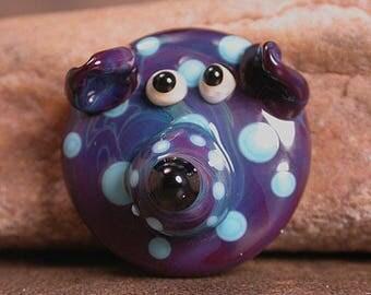 Whimsical Lampwork Glass Cabochon Dog Face in Purples & Blue Divine Spark Designs SRA