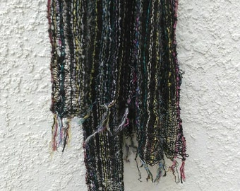 Vintage bohemian handmade woven textile scarf - multicolored - metallic