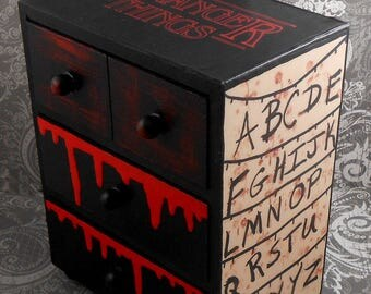 Custom Stranger Things Red and Black Stash Jewelry Box