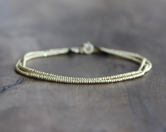 Gold wrap bracelet - gold seed beaded bracelet on black silk - stacking beaded wrap bracelet - beaded gold bracelet - boho jewelry