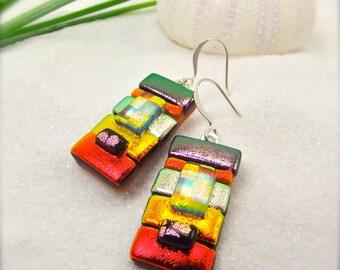 Dichroic Earrings, fused dichroic earrings, ruby red earrings, boho, glass earrings, dichroic, jewelry, handcrafted, statement earrings