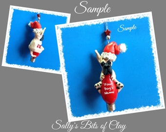 Light Fawn Great Dane Santa dog cropped ears Christmas Holidays Light Bulb Ornament Sally's Bits of Clay PERSONALIZED FREE with dog's name