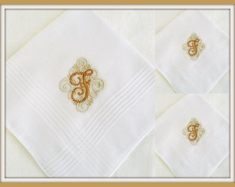 PERSONALIZED EMBROIDERED  Set of THREE Mens' Handkerchiefs with Monogram