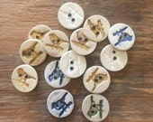 FREE SHIPPING Set of 14 Handmade Ceramic Buttons - Birds