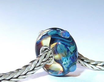 Luccicare Lampwork Bead - Watercolour Wave -  Lined with Sterling Silver