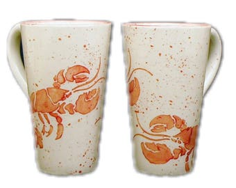 Mug. Lobster. Tall. Mug. Handmade by Sara Hunter Designs