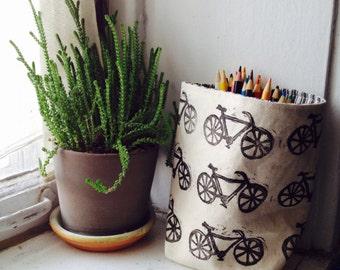 storage, fabric pot, fabric storage, fabric bin, fabric bucket, linoprint, blockprinted, handcarved, fabric bin, fabric pouch, bicycle,decor