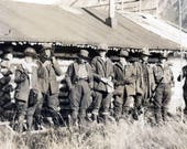 vintage photo 1915 Outdoorsy Women Log Cabin Seward Alaska Group Fishing Poles
