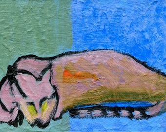 Sleeping cat /  SERGE  //  original  /   painting  /  one of a kind painting on a canvas panel  purr purr