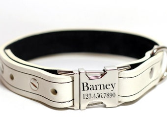 White Leather Dog Collar, Personalize Leather Colalr, Quick Release