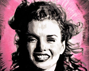 """Young Marilyn Monroe in pink signed 18x24"""" Art on canvas giclee"""