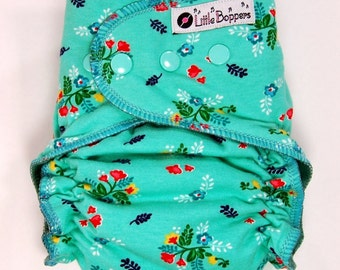 Custom Cloth Diaper or Cover - Made to Order - Vintage Market Floral - You Pick Size and Style - Aqua Mint - Nappy or Wrap