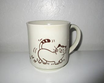 Cat Coffee Mug - Vintage Made in Japan - Beige and Brown Coffee Cup - Stoneware - Kitty Paw Prints Walking Through Paint