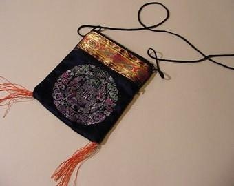 Vintage Satchel Bag Asian Oriental style Brocade Navy + Multi color, zippered, tassels long strap | dark mori Boho tribal