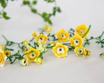 46 TINY Roses in Yellow - MINIATURE Artificial Roses - ITEM 049