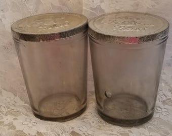 2 vintage rare angel base tumbler juice glass style kerr jelly glass canning jars tin metal embossed lids bubbles rare unusual semi salvaged