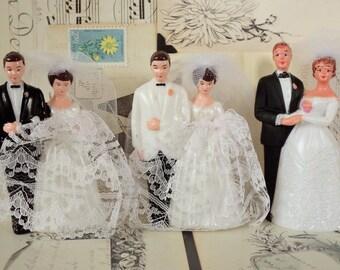 Vintage / Bride and Groom Wedding Cake Toppers / Three / Variety / DIY / Bridal Shower Cake Decorations / Retro Charm / Dessert Bar
