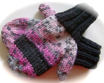 Mittens, Children, Hand Knit, Pink and Gray Print, Black Cuffs, 3 to 4 years