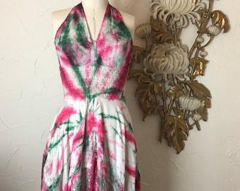 Vintage dress halter dress tie dyed dress mini dress size small Vintage dress festival dress