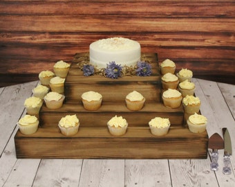 Wedding Wooden Cake and Cupcake Stand Square Riser Bases woodland Barn Wood Country Rustic display Cake stand for cake or cupcake