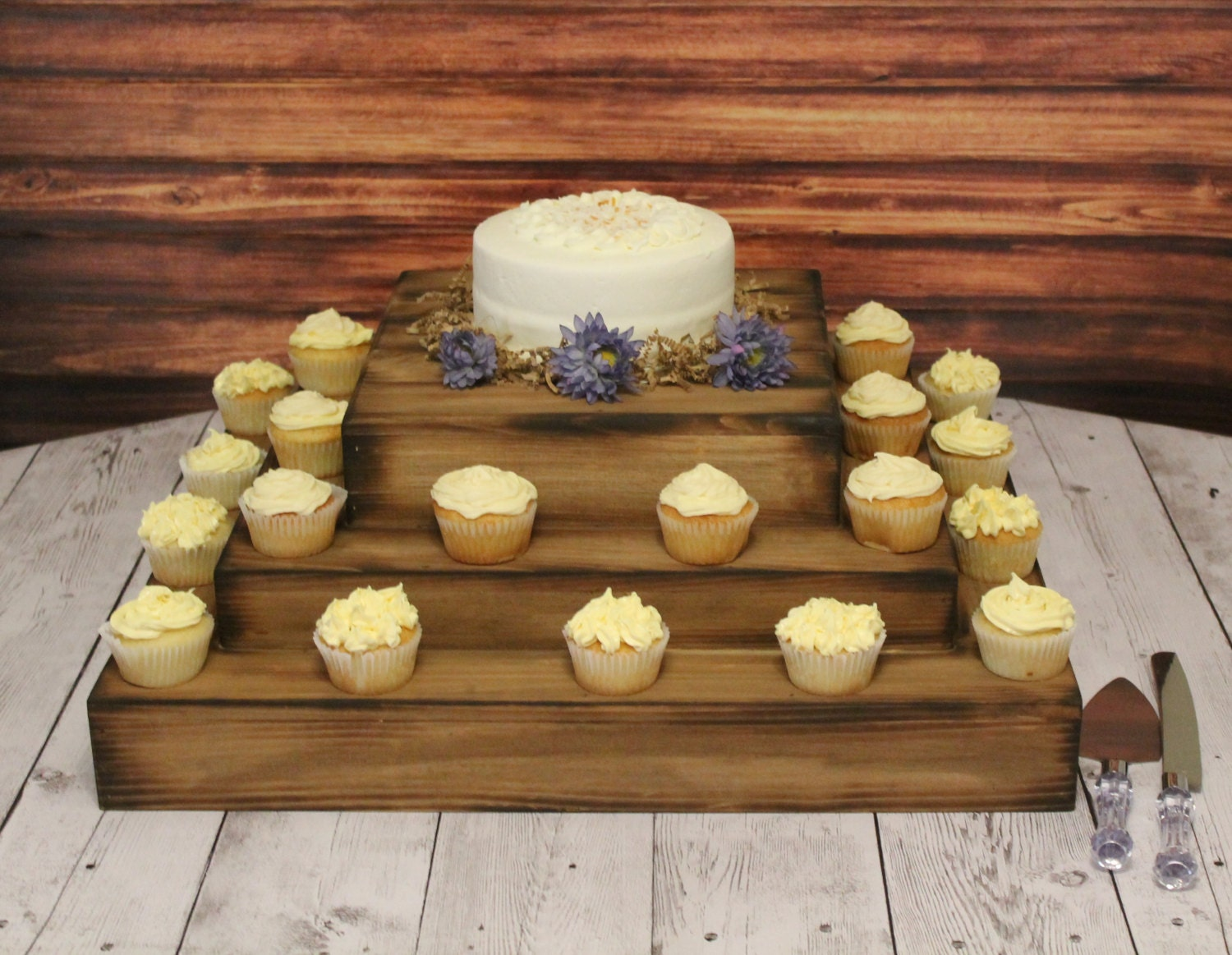Wedding wooden cake and cupcake stand square riser bases